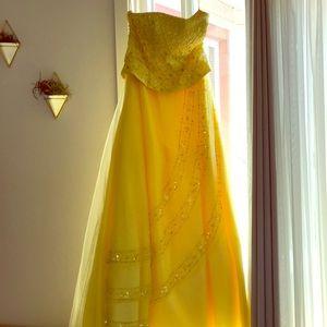 Night moves yellow floor length formal dress